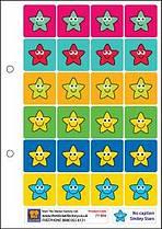 Čtverečkoví hvězdičkoví smajlíci - 28mm nálepky