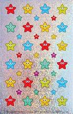 Třpytivé 28/12mm nálepky hvězdičkoví smajlíci