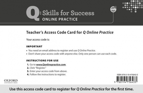 Q: Skills for Success Online Practice Teacher Access Code Card