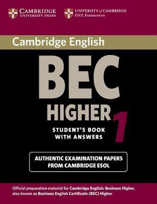 Cambridge BEC Higher Practice Tests 1 Student´s Book with answers : 9780521752893