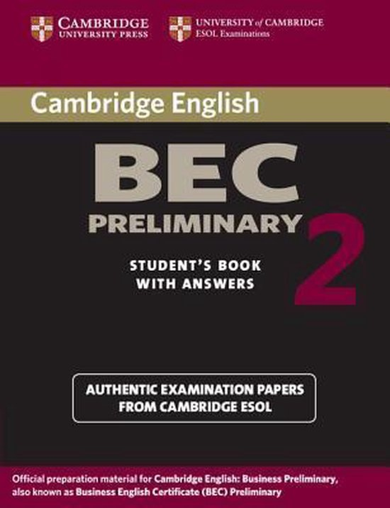 Cambridge BEC Preliminary Practice Tests 2 Student´s Book with answers