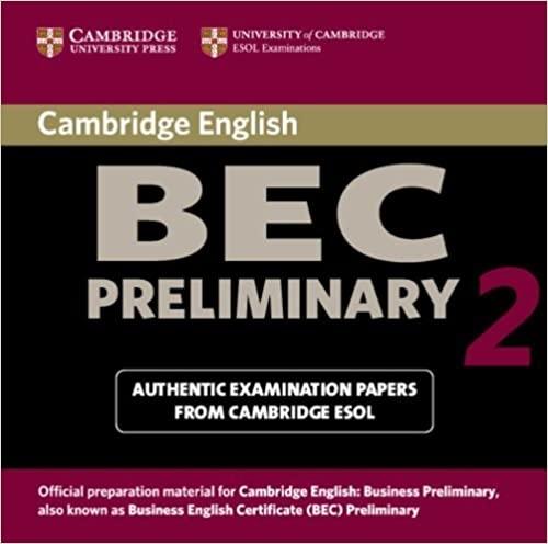Cambridge BEC Preliminary Practice Tests 2 Audio CD