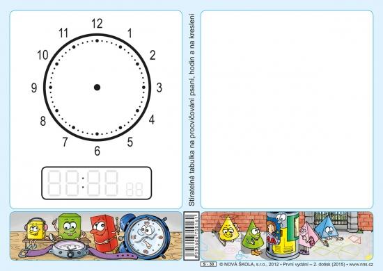 Stíratelná tabulka na procvičování psaní, hodin a na kreslení (Nová řada) (S-30)