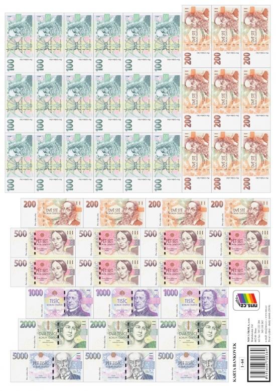 Karta bankovek (Kč) (1-64) : 1-64