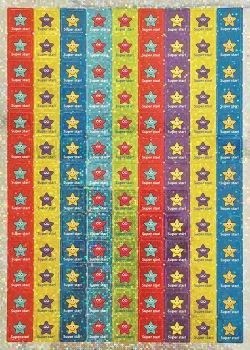 12mm třpytivé čtvercové mini samolepky Hvězdy Super star (468 kusů)