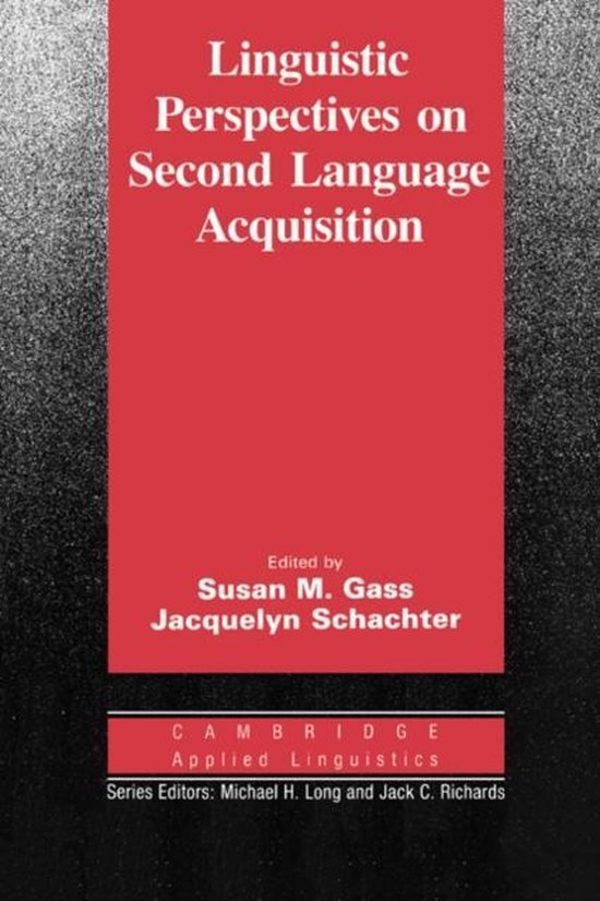 Linguistic Perspectives on Second Language Acquisition PB : 9780521378116