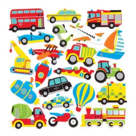 Pěnové samolepky dopravní prostředky (120 ks)