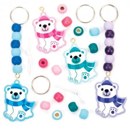 Sada k výrobě přívěšků na klíče a tašky polární medvěd (4 kusy) - AV646 : 5051174078345