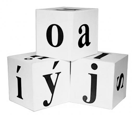 Demonstrační kostky s písmenky – bílé (1-69)
