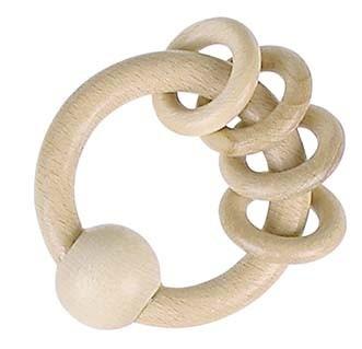 Dřevěný kroužek s kroužky, přírodní : 4011534308001