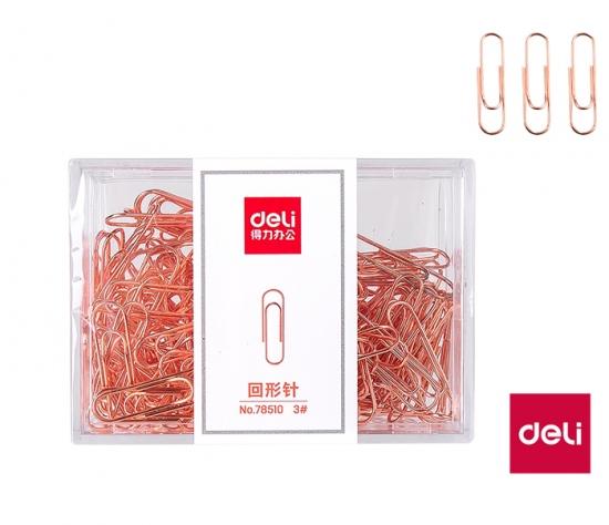 Sponky  kancelářské 29mm růžové zlato 160 ks MACARON DELI 78510 : 6935205360786