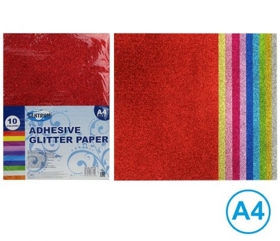 Papír barevný glitrový A4 samolepící, mix