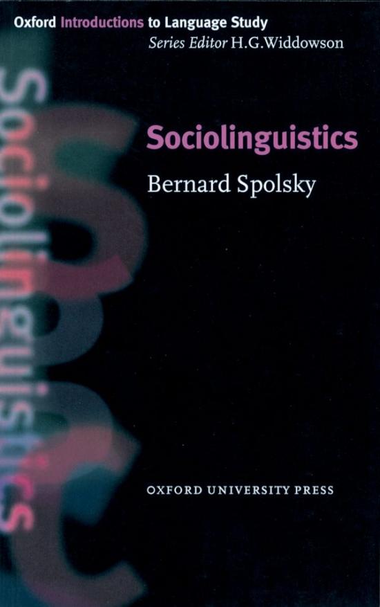 Oxford Introductions to Language Study Sociolinguistics