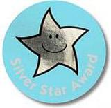 Medaile se stříbrnou hvězdou - 38mm nálepka