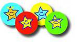 Hvězdičkoví smajlíci v barvě týmu - 10mm nálepky