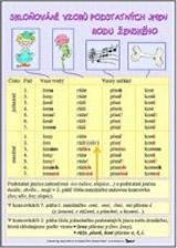 Skloňování vzorů podstatných jmen rodu ženského/ + Skloňování vzorů podstatných jmen rodu středního (karta)