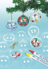 Transparentní vánoční koule k zavěšení (12 ks) EX2323