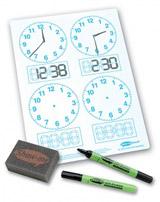 Show-me Stíratelná tabulka určování času (4 ciferníky) + fixa a houbička