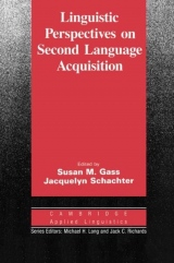 Linguistic Perspectives on Second Language Acquisition PB