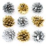 Zlatá a stříbrné borové šišky (12 kusů) - AV628