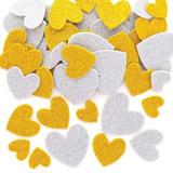 Pěnové samolepky zlatá a stříbrná srdce (150ks) AX309
