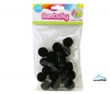 Bambulky černé, 18ks 25mm LUMA